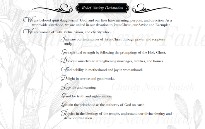 Relief Society Declaration and Purpose Statement